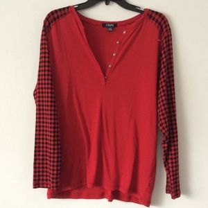 Chaps plus size red plaid sleeved top! Size 1X